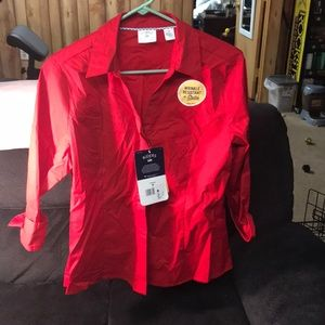 Riders red dress shirt